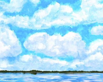 Lakeside Blue - Georgia Abstract Landscape Art Print
