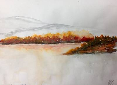 Painting - Lakeside Bushes - Fall by Desmond Raymond