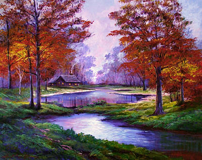 Maple Tree Painting - Lakeside Cabin by David Lloyd Glover