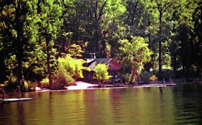 Lakeside Cabin In Idaho Usa Art Print by Steve Ohlsen