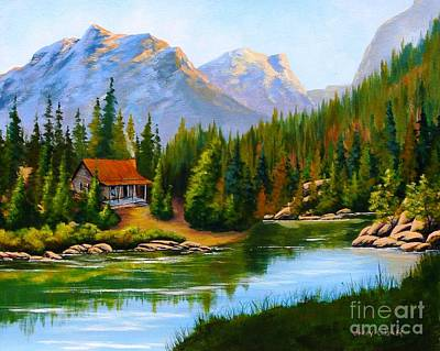 Painting - Lakeside Cabin by Jerry Walker