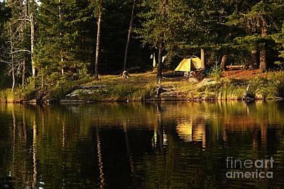 Lakeside Campsite Art Print by Larry Ricker