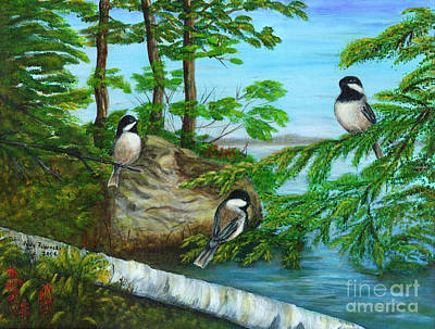 Art Print featuring the painting Lakeside Chickadees by Judy Filarecki