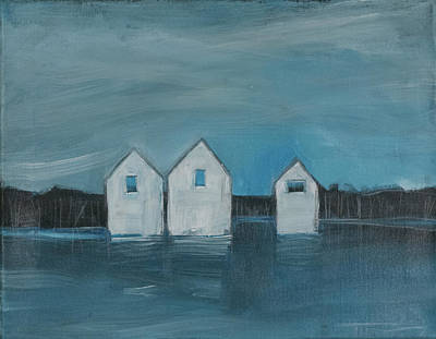 Painting - Lakeside Cottages Off-season by Tim Nyberg