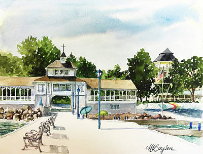 Lakeside Dock And Pavilion Art Print