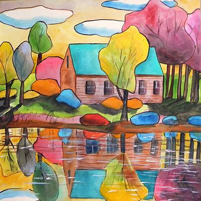 Art Print featuring the painting Lakeside Dream House by John Williams
