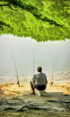 Photograph - Lakeside Fisherman And Three Fishing Pole Pals by Gary Slawsky
