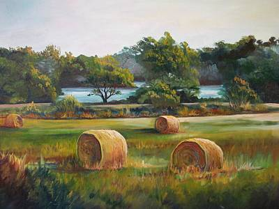 Bales Painting - Lakeside Hay Field by Marti Bailey