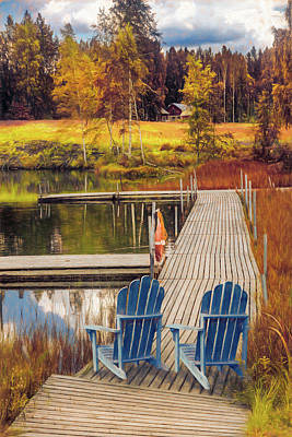 Photograph - Lakeside In Autumn Painting by Debra and Dave Vanderlaan