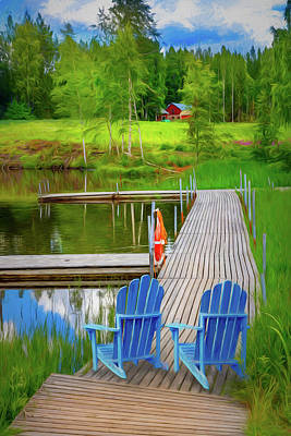 Photograph - Lakeside In The Summer Painting by Debra and Dave Vanderlaan