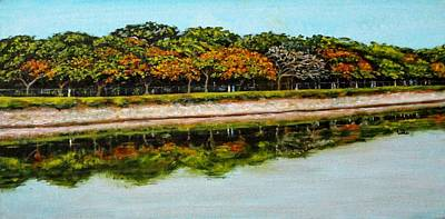 Lal Bagh Painting - Lakeside Joggers Path by Usha Shantharam