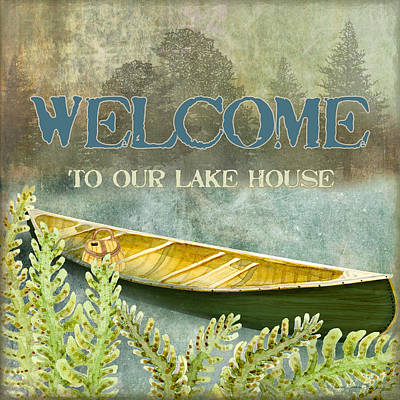 Mountain Mixed Media - Lakeside Lodge - Welcome Sign by Audrey Jeanne Roberts