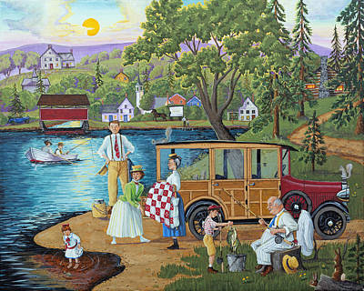 Painting - Lakeside Picnic by Joseph Holodook