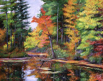 Impressionism Paintings - Lakeside Reflections by David Lloyd Glover