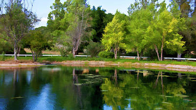 Vineyard Digital Art - Lakeside Reflections by Patricia Stalter