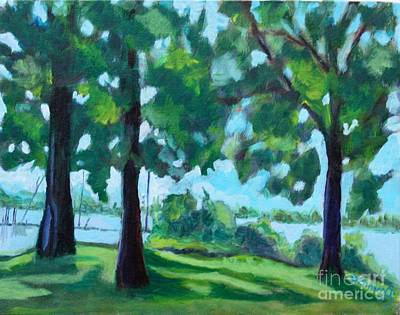 Painting - Lakeside Shadows by Jan Bennicoff