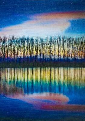 Encaustic Painting - Lakeside Silhouette by Cara Frafjord