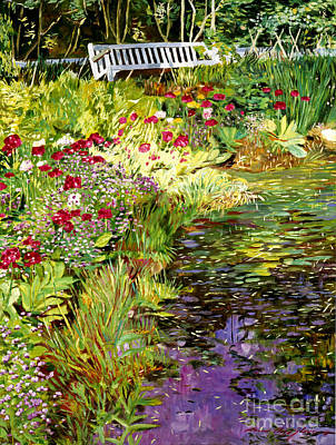 Waterlilies Painting - Lakeside Sunbench by David Lloyd Glover