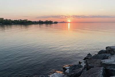 Photograph - Lakeside Sunrise Ripples In Glossy Silk  by Georgia Mizuleva