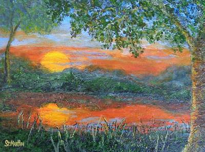 Painting - Lakeside Sunset by Annie St Martin