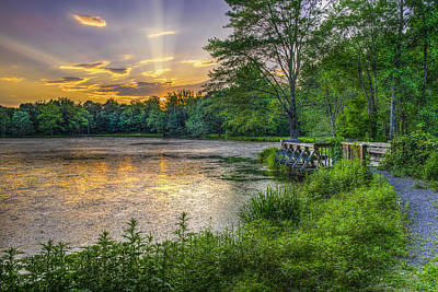 Lakeside Sunset  Bushkill Art Print by F. M. Kearney