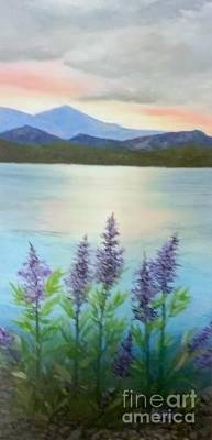 Painting - Lakeside Sunset. by Peggy Miller