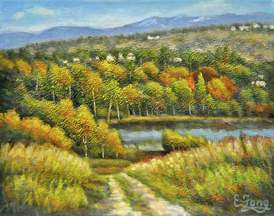 Painting - Lakeside Trail In Autumn by Eileen  Fong