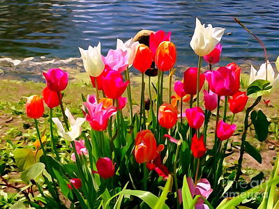 Digital Art - Lakeside Tulips by Ed Weidman