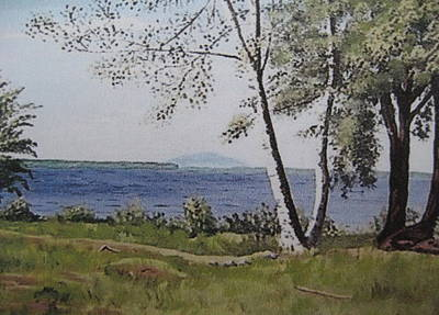 Maine Landscapes Painting - Lakeview Landing by Stella Sherman