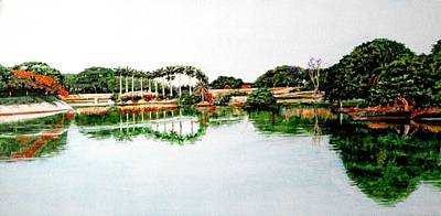 Lal Bagh Painting - Lakeview Reflections by Usha Shantharam