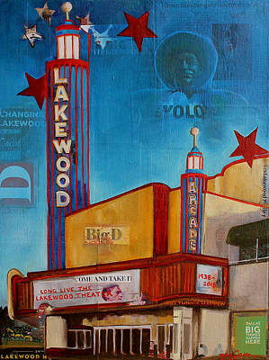 Newspaper Collage Painting - Lakewood Theater 4evr by Katrina Rasmussen