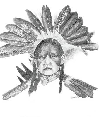 Eagle Feathers Painting - Lakota Headdress by Wayne Pruse
