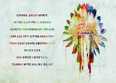 Mixed Media - Lakota Prayer Colorful Art by Olga Hamilton