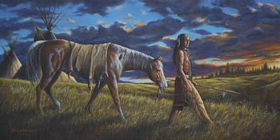 Art Print featuring the painting Lakota Sunrise by Kim Lockman