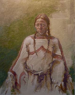 One Wnative American Painting - Lakota Woman by Ellen Dreibelbis