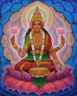 Hindu Goddess Painting - Lakshmi Blessing by Sue Halstenberg