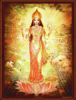 Mixed Media - Lakshmi Goddess Of Fortune by Ananda Vdovic