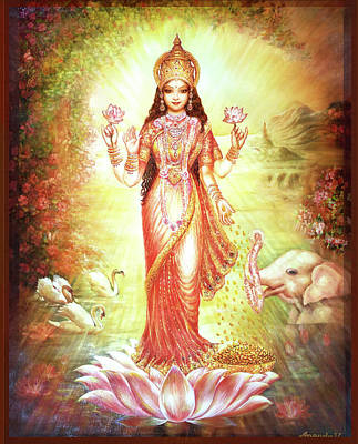 Painting - Lakshmi Goddess Of Fortune And Prosperity by Ananda Vdovic