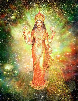 Lakshmi In A Galaxy  Art Print by Ananda Vdovic