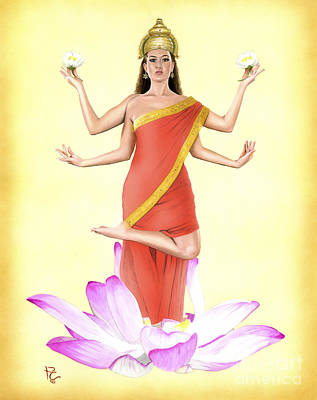 Hindu Goddess Painting - Lakshmi by Kevin Clark