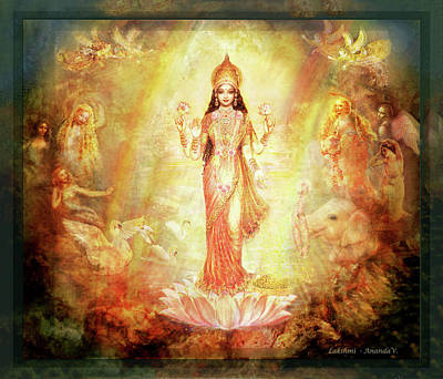 Mixed Media - Lakshmi With Angels And Muses 1 by Ananda Vdovic