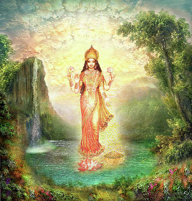 Mixed Media - Lakshmi With The Waterfall 2 by Ananda Vdovic
