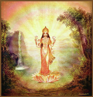 Lakshmi With The Waterfall Art Print