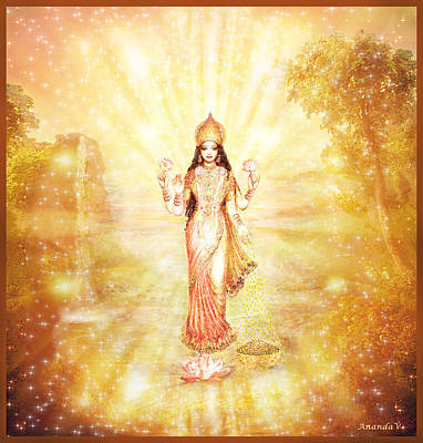 Lakshmi With The Waterfall - Light Art Print by Ananda Vdovic