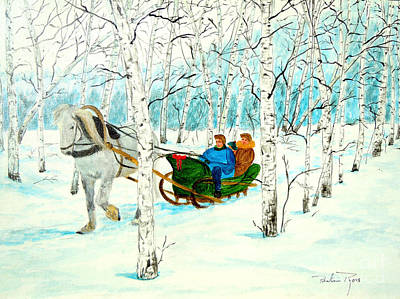 Horse And Sleigh Painting - Lala Lala Laaa by Pauline Ross