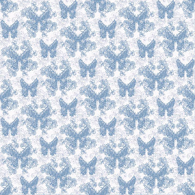 Digital Art - Lalabutterfly Blue Wedgewood Reverse by Deborah Runham