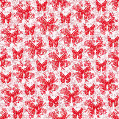 Digital Art - Lalabutterfly Red And White by Deborah Runham