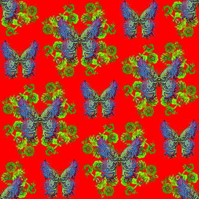 Digital Art - Lalabutterfly Red by Deborah Runham