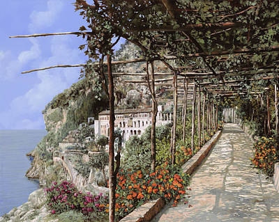 Landscapes Royalty-Free and Rights-Managed Images - Lalbergo dei frati cappuccini ad Amalfi by Guido Borelli