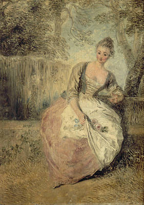 18th Century Painting - L'amante Inquiete by Antoine Watteau